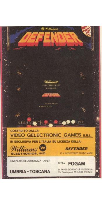 vernimark noleggio videogiochi arcade DEFENDER WILLIAMS VGG