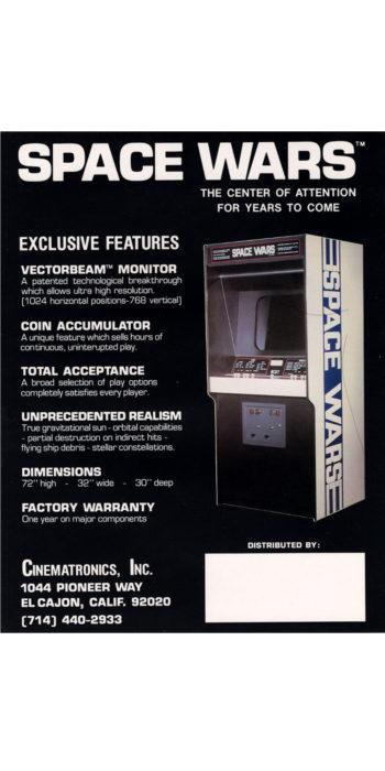 vernimark noleggio videogiochi arcade SPACE WARS CINEMATRONICS